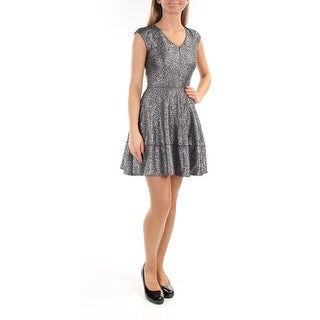 Womens Silver Cap Sleeve Above The Knee Circle Party Dress Size: 2XS