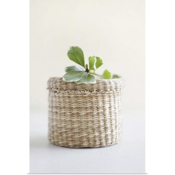"""Small basket with a leaf on the top"" Poster Print"