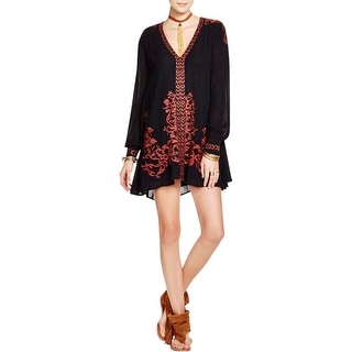 Free People Womens Hearts In Heaven Mini Dress Embroidered V-Neck