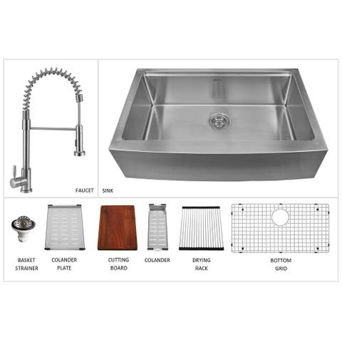 "Karran 33"" Undermount Large Single Bowl Stainless Steel Farmhouse Workstation Sink - 33"" x 20.63"" x 10"""