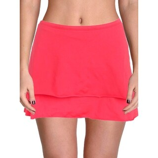 Cole Of California Womens Plus Tiered Skirt Swim Bottom Separates (Option: 24W - CORAL)