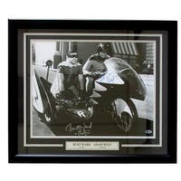 Adam West Burt Ward Signed Framed Batman & Robin 16x20 Bat Bike Photo Insc BAS