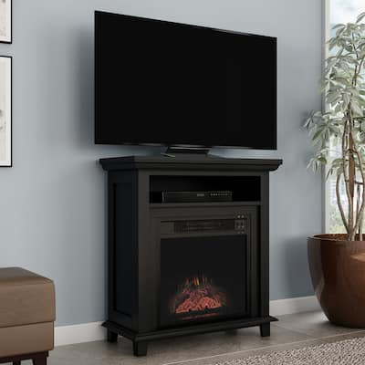 Copper Grove Siavonga Electric Fireplace TV Stand with Faux Logs and LED Flames - 27 x 12.4 x 29 - 27 x 12.4 x 29