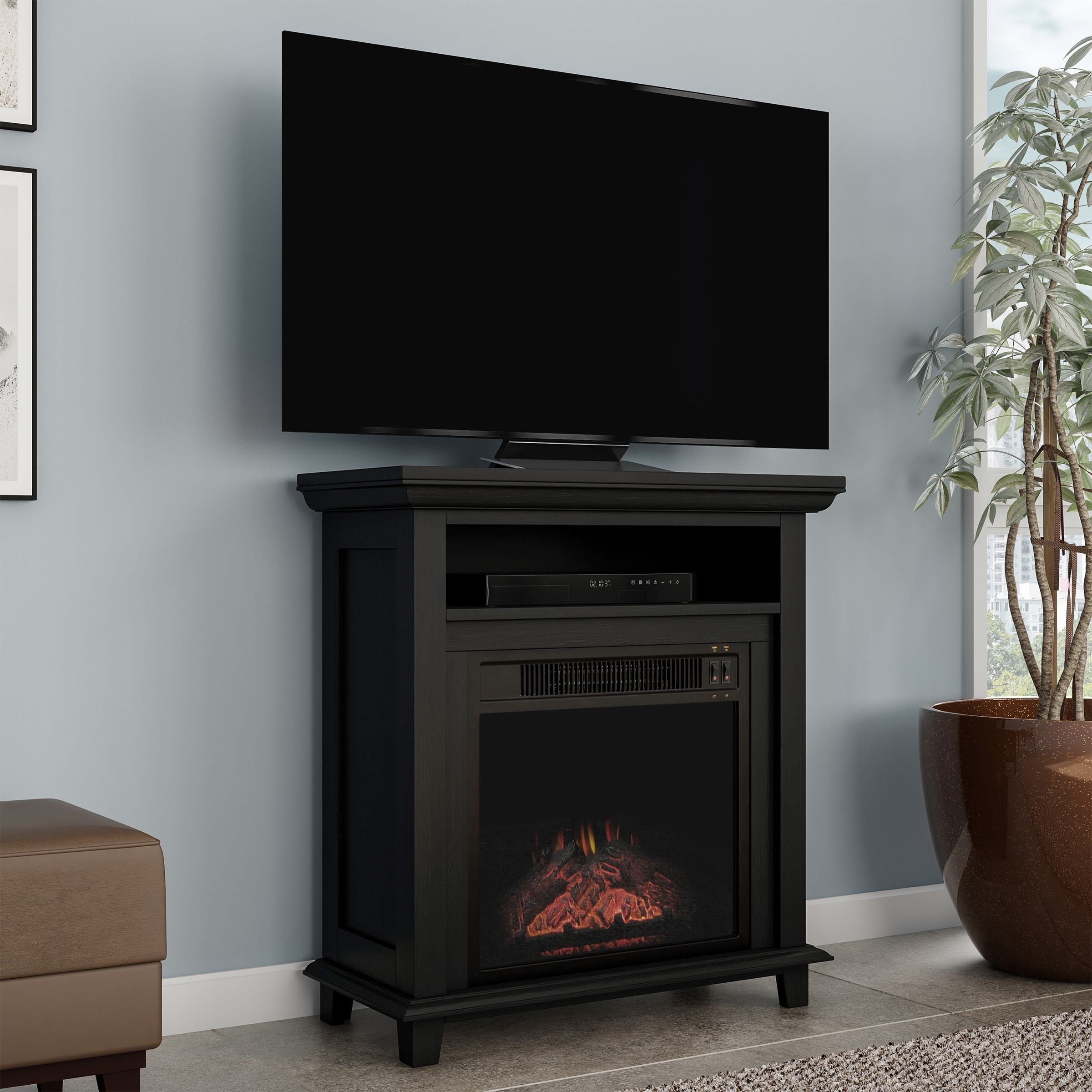 Copper Grove Siavonga Electric Fireplace Tv Stand With Faux Logs And Led Flames 27 X 12 4 X 29 27 X 12 4 X 29 On Sale Overstock 28896206