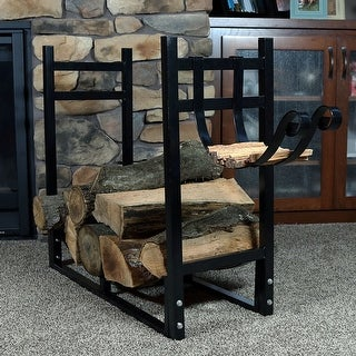 Sunnydaze Indoor Outdoor Firewood Log Rack with Kindling Holder - 30 Inch Tall