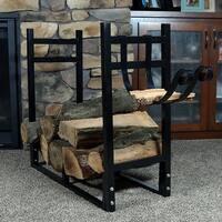 Sunnydaze Indoor Outdoor Firewood Log Rack with Kindling Holder - Black
