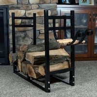 Sunnydaze Indoor Outdoor Firewood Log Rack with Kindling Holder - Color Options
