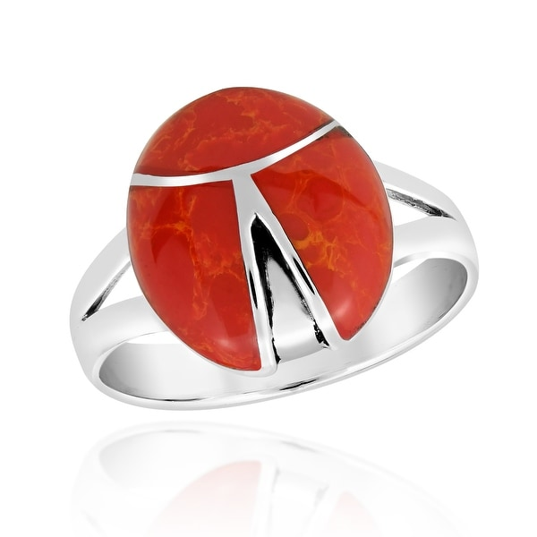 . Handmade 925 Sterling Silver ring with three dots and Genuine Red Coral stone