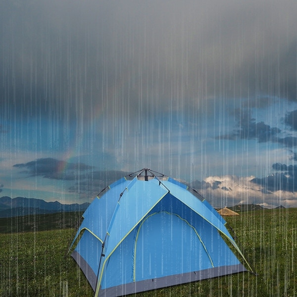 """2-3 Person Double-Deck Tow-Door Hydraulic Automatic Tent Free Build - 80""""-Blue"""