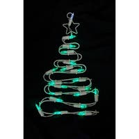 "12"" Battery Operated LED Lighted Christmas Tree Window Silhouette with Timer"