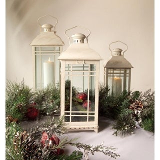 """Set of 3 White Multi-Sized Mission-Style Pillar Candle Lanterns 20"""" - N/A"""