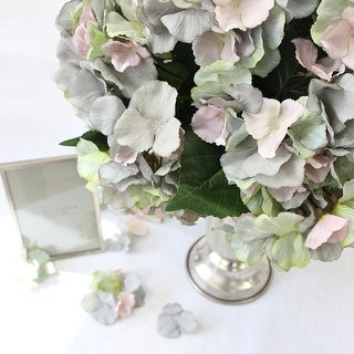 """G Home Collection Luxury Silk 5 Hydrangea Bloom Stem in Mixed Blue Pink and Green 18"""" Tall"""