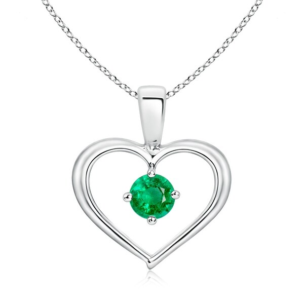 Angara Solitaire Heart Shaped Emerald Pendant in Platinum