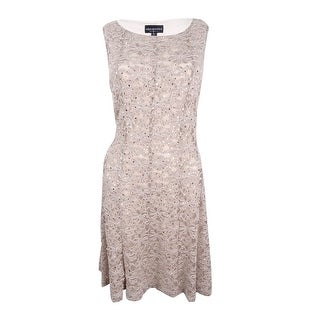 Connected Women's Petite Sequined Lace Fit & Flare Dress