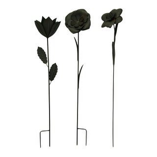 Set of 3 Black Iron Finished Metal Flower Garden Stakes