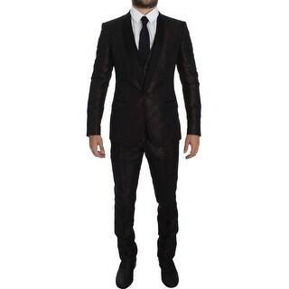 Dolce & Gabbana Dolce & Gabbana Brown Black Shiny 3 Piece Slim Suit Tuxedo