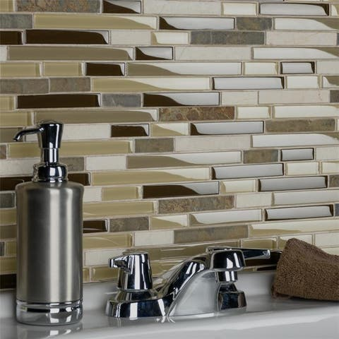 SomerTile 11.625x11.75-inch Reflections Piano Nassau Stone and Glass Mosaic Wall Tile