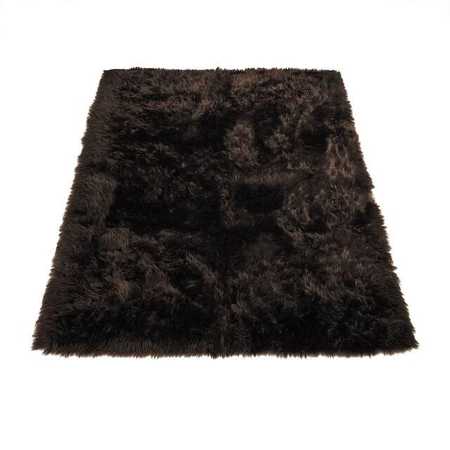 "Walk on Me Faux Sheepskin Rectangle Faux Fur Machine Washable Area Rug - 4'7"" x 6'7"" - Brown"