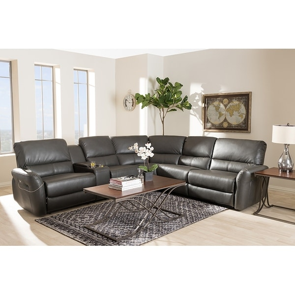 Shop Amaris 5pcs Grey Bonded Leather Power Reclining Sectional Sofa W Usb Ports Free Shipping