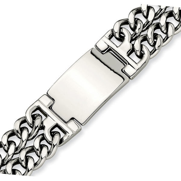 Chisel Stainless Steel Double Curb Chain ID Bracelet