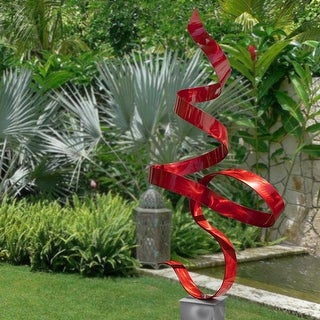 Statements2000 Large Modern Metal Garden Sculpture Indoor Outdoor Art Decor by Jon Allen - Red Perfect Moment with Silver Base