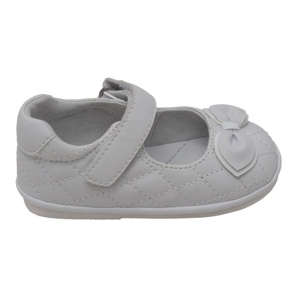 7d76f4269959 Angel Baby Girls White Quilted Strap Bow Mary Jane Shoes 4 Baby-7 Toddler