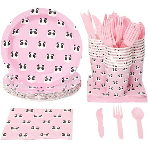 Serves 24 Cute Panda Birthday Party Supplies Baby Shower Plate Napkin Cup Pink