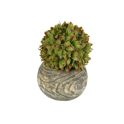 MODA MDW-1022-663C wood pot with plastic plant - 8.66*8.66*11.81 inches