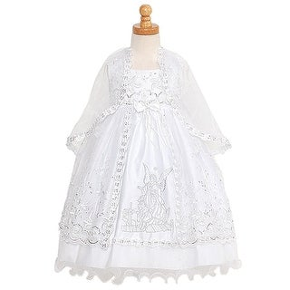 Rain Kids White Silver Embroidered Angel Baptism Dress Girls 6M-4T