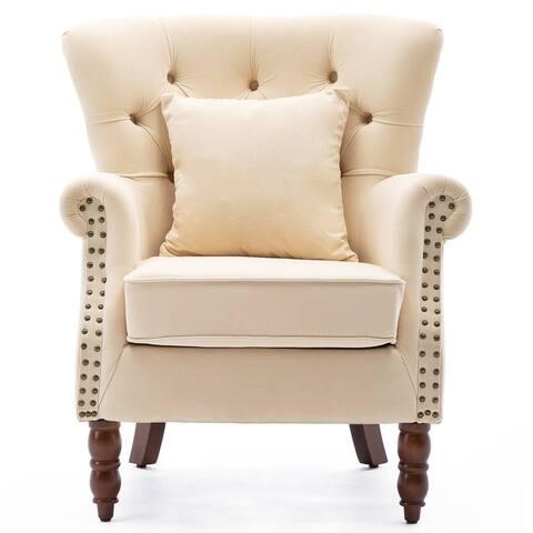 Modern Wingback Chair Button-Tufted Nailhead Trim Accent Armchair