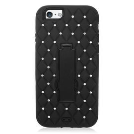 Insten Symbiosis Dual Layer Hybrid Stand Rubber Silicone/ PC Case Cover With Diamond For Apple iPhone 6/ 6s
