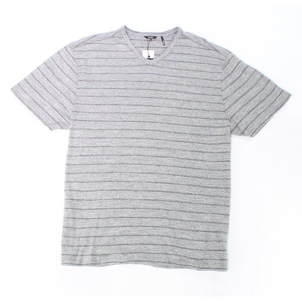 Shop Dkny Gray Black Mens Size 2xl Striped V Neck Short Sleeve Tee