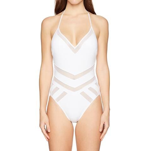 Kenneth Cole Womens Swimwear White Size Medium M Halter Mesh Panel