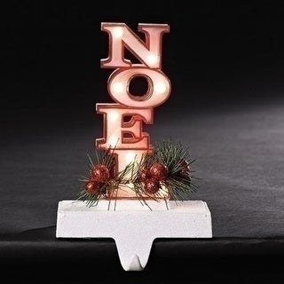 """7"""" Red with Glittered Base Noel Marquee LED lighted Christmas Stocking Holder"""