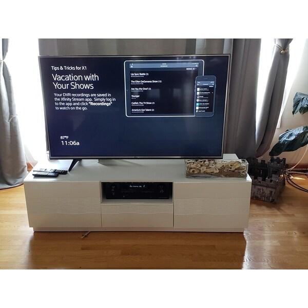 Alabaster White Modern TV Stand with Storage