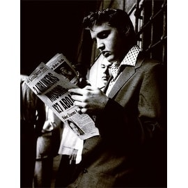 ''Elvis Reading the Sunday Mirror'' by Anon Music Art Print (24 x 18 in.)