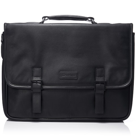 Alpine Swiss Genuine Leather 15.6 Laptop Briefcase Flap Over Messenger Bag - One Size