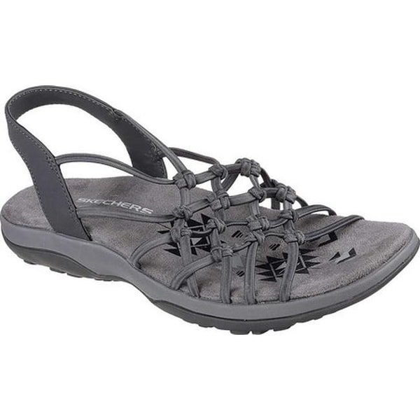 0f9f3c114070 Shop Skechers Women s Reggae Slim Forget Me Knot Slingback Sandal Charcoal  - On Sale - Free Shipping Today - Overstock - 19981716