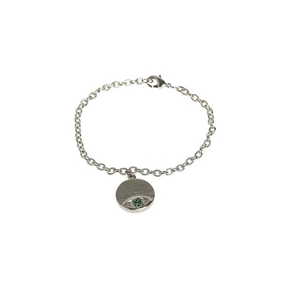 House of Harlow by Nicole Richie Womens Charm Bracelet Evil Eye Crystal Pave - Green/Silver