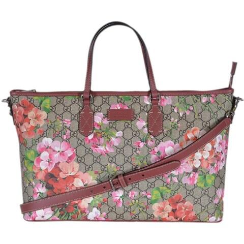 Gucci 410478 GG Supreme Canvas Pink Floral Blooms Convertible Purse Handbag - Multi