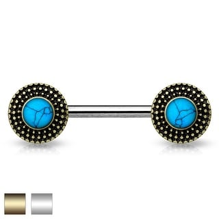 Turquoise Center Tribal Shield Ends Surgical Steel Nipple Barbell - 14GA (Sold Ind.)