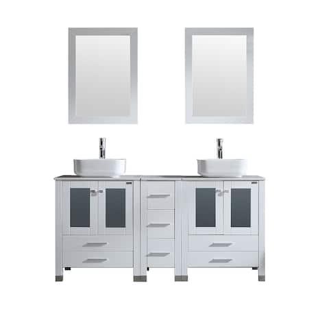 """60.1"""" Double Bathroom Vanity Set with mirror"""