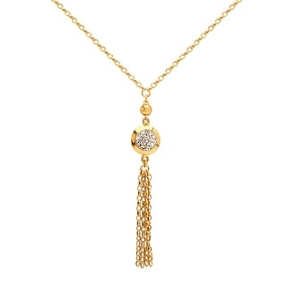 Crystaluxe Tassel Necklace with Swarovski Crystals in 10K Gold-Plated Sterling Silver