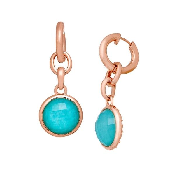 11 ct Quartz & Amazonite Detachable Drop Earrings in 18K Rose Gold-Plated Bronze - TEAL