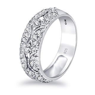 Link to Moissanite Sterling Silver Round Band Ring by Sparklezz Similar Items in Rings