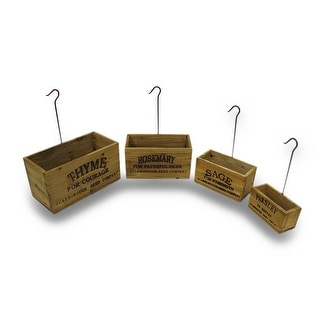 Set of 4 Vintage Look Nesting Herb Growing Boxes With Hangers