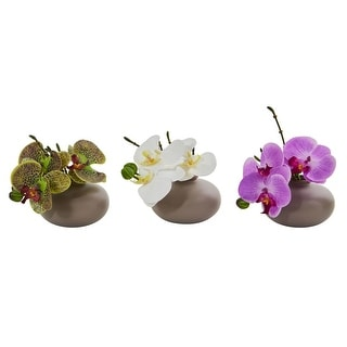 """Nearly Natural 7"""" Phalaenopsis Orchid Artificial Arrangement - Set of 3"""