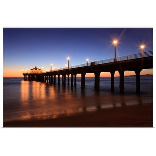 """""""Manhattan Beach Pier at sunset, California"""" Poster Print"""