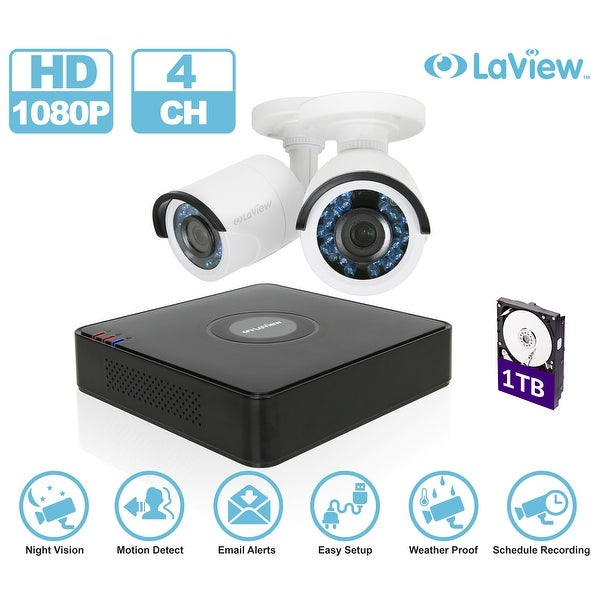 LaView LV-KT934HS2A5-T1 4-channel 1080P Full HD-Analog 1TB HDD Surveillance DVR with (2) 1080p Bullet Cameras
