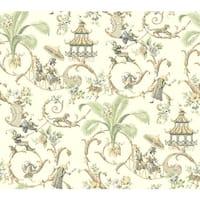 York Wallcoverings WA7772 Waverly Classics Mandarin Prose Wallpaper - Eggshell/Gray/Cocoa/Mint/Buff/White - N/A